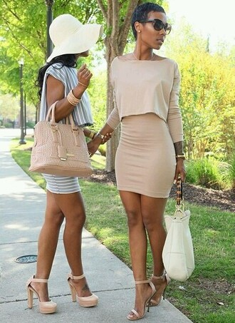 black girls killin it purse high heels streetwear streetstyle style top skirt two-piece african american stripes jewelry model gorgeous women white bag floppy hat nude high heels nude dress