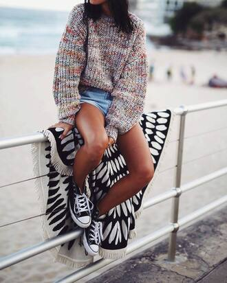 sweater tumblr printed sweater oversized sweater oversized chunky knit shorts denim shorts sneakers black sneakers high top sneakers converse high top converse black converse blanket