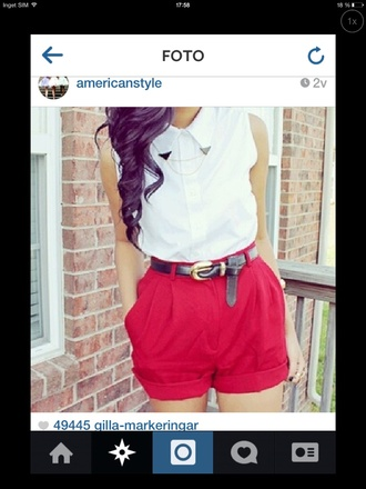 shirt shorts red shorts