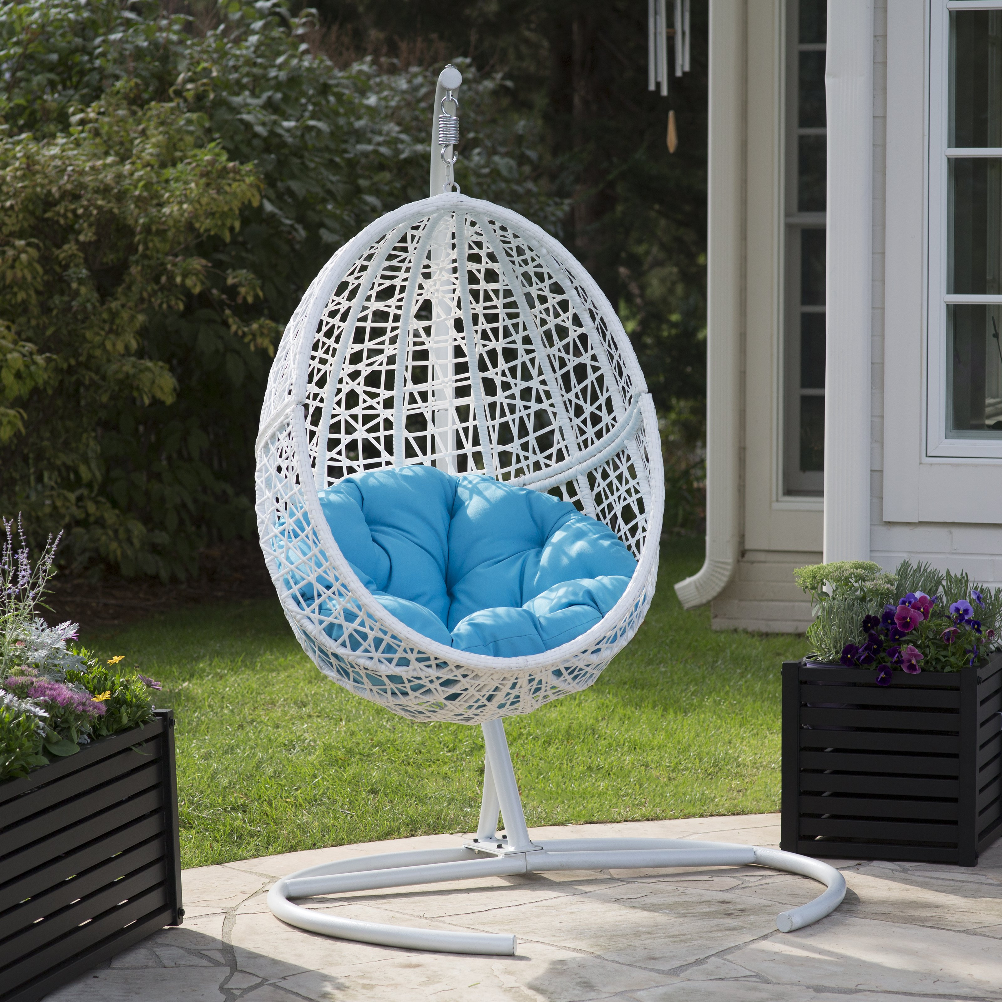 Bay Resin Wicker Blanca Hanging Egg Chair with Cushion Color