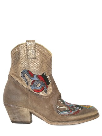 snake boots ankle boots suede tan gold shoes