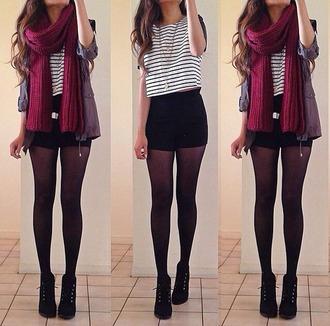 shorts high waisted black striped shirt jacket burgundy scarf blouse scarf