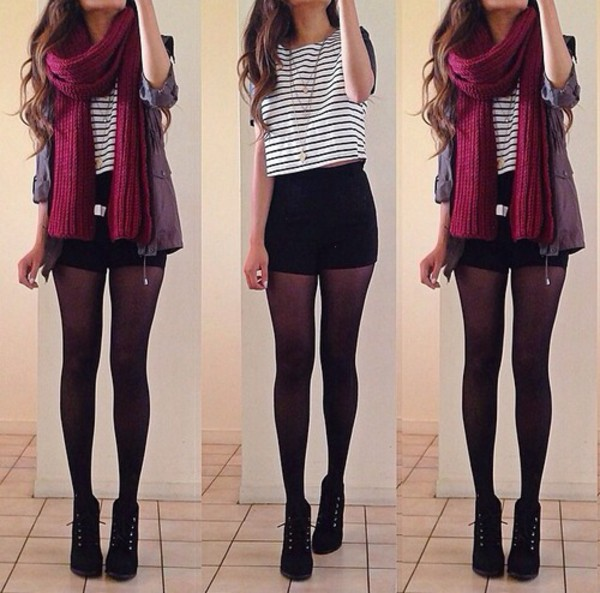 shorts high waisted black striped shirt jacket burgundy scarf blouse scarf