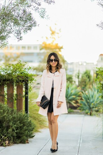 lace and locks blogger coat sweater skirt shoes bag sunglasses fall outfits black bag high heel pumps pumps