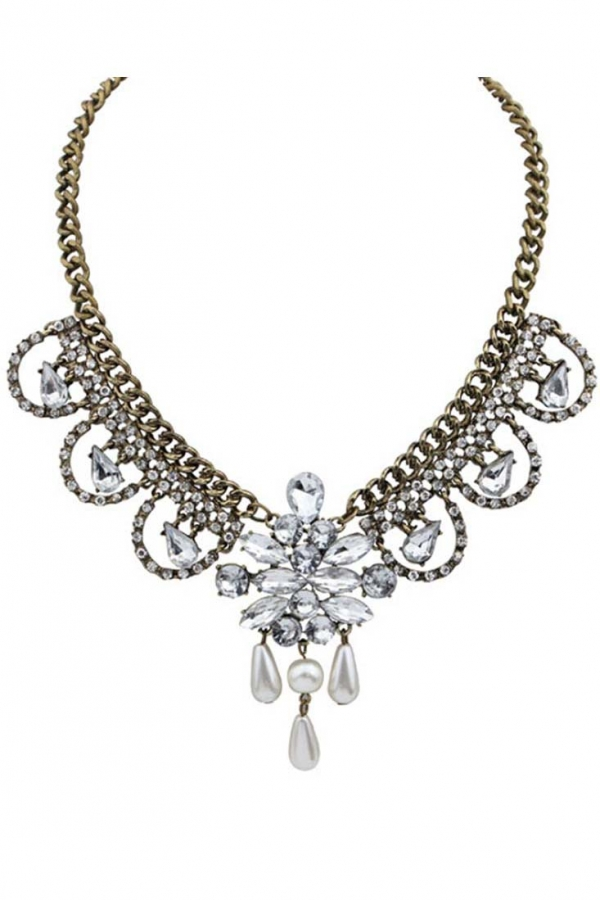 Antique Clear Faux Stone Bib Necklace - OASAP.com