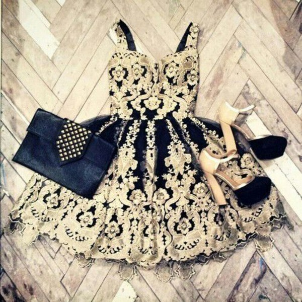 blackk dress white lace black bag nude heels thick heel black dress