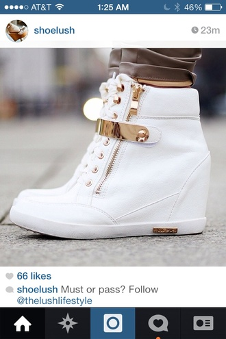 gold shoes white sneakers high top sneakers wedges