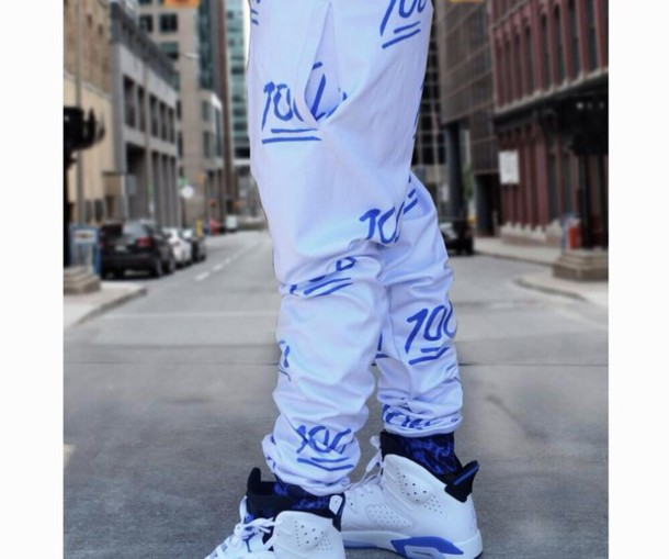 new products a0318 bc7f0 pants emoji print sweatpants white sweatpants shoes jeans jordan sport blue  6 take over joggers emoji