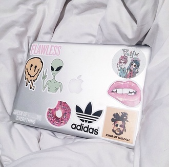 phone cover laptop stickers macbook air apple flawless smiley alien lips adidas the weeknd donut computer sticker