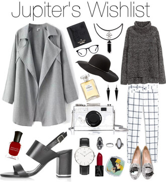 mimi m princess.from.jupiter blogger bag jewels hat nail polish daniel wellington felt hat grey coat choker necklace grey sweater printed pants silver shoes smoking slippers holiday gift grey trench coat