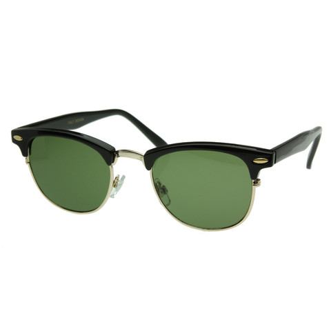 Vintage Half Frame Clubmaster Shades Style Classic Optical RX Sunglass                           | zeroUV