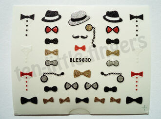 bows moustache nail accessories nail polish nail decoration art bowlers glitter stickers diy easy silver