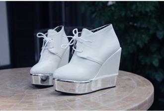 shoes boots light blue silver platforms