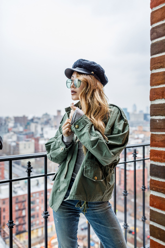 sunglasses tumblr aviator sunglasses hat black hat fisherman cap jacket army green jacket top grey top denim jeans blue jeans