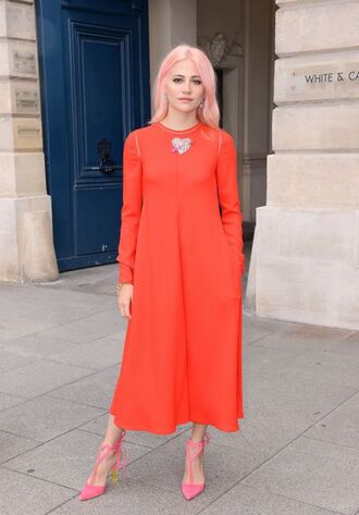dress red dress red pixie lott pumps midi dress fashion week 2017 paris fashion week 2017 fashion week