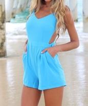 jumpsuit,openbackplaysuit,romper,light blue,dress,blur playsuit