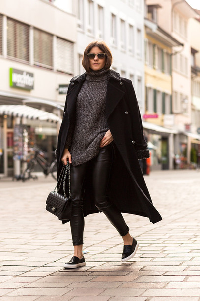 the fashion fraction blogger grey sweater long coat leather leggings coat sweater pants bag sunglasses shoes jewels