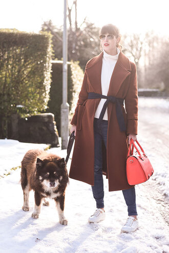 thank fifi blogger shoes coat sweater jeans bag red bag handbag winter outfits brown coat sneakers