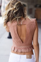 top,blouse,tank top,crop tops,pink,light pink,baby pink,back cutouts,backless,backless top,ruffle,ruffled top,sleeveless,pink top,summer,summer outfits,summer top