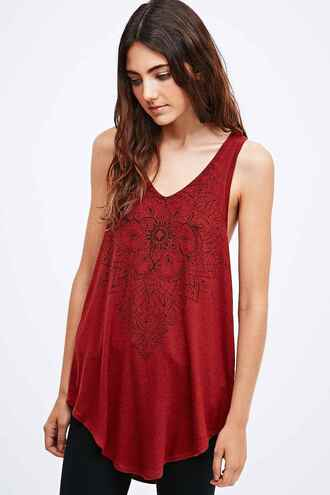 tank top red boho shirt long shirt urban outfitters mandala