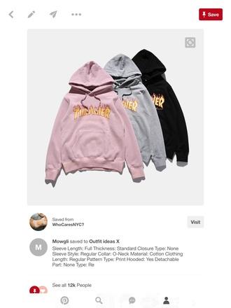 sweater flames thrasher hoodie
