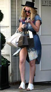 dress,hat,denim,denim dress,mules,iggy azalea,sunglasses,shoes