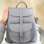 bag,grey,backpack,buckles,structure bag,small bag,grey bag,fashion,back to school
