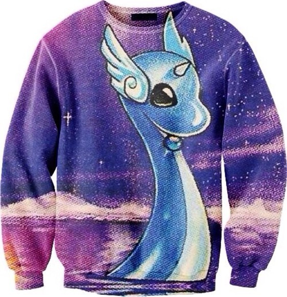 sweater dragonair, pokemon, purple, blue, pink, dragon,