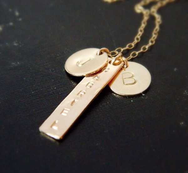 jewels personalized monogram summer outfits engraved jewelry gold bar necklace initial name necklace