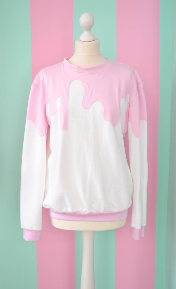 White fairy kei pullover with pink sauce by mademoiselleopossum
