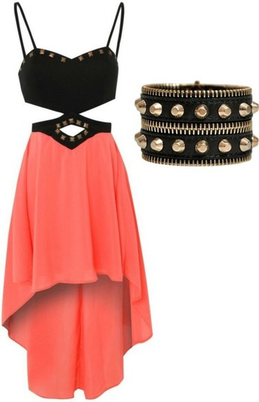 dress studded dress coral high-low dresses