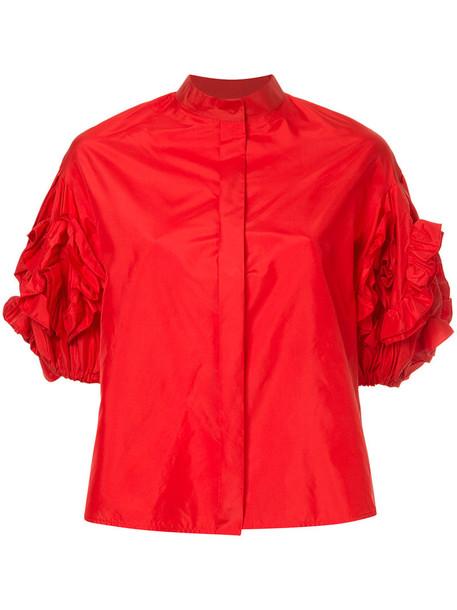 DICE KAYEK blouse women statement silk red top