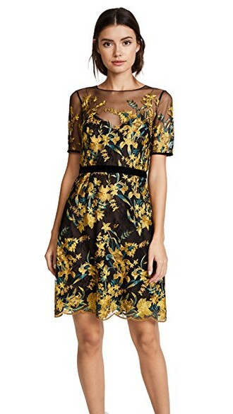 dress cocktail dress embroidered black yellow