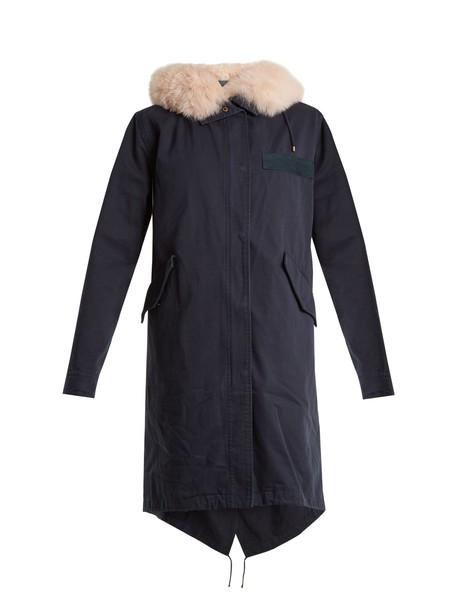 YVES SALOMON ARMY parka fur cotton navy coat