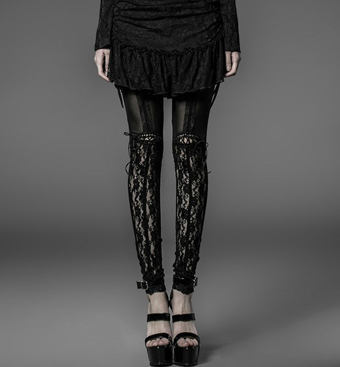 Lace Paneled Sheer Front Suspender Leggings