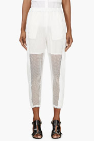 Avelon White Mesh & Leather Trousers for women | SSENSE