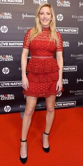 dress,red dress,red,ellie goulding,pumps,mini dress,lace dress,lace
