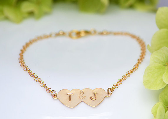 Personalized 14K Gold Filled double heart charms by DaniqueJewelry