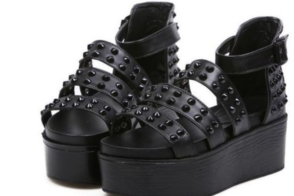 shoes platform shoes flatforms sandals studs buckles