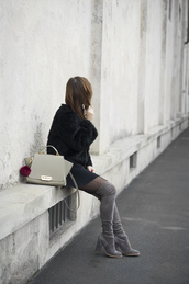 once upon a time,blogger,sweater,bag,shoes,tights,skirt,thigh high boots,handbag,fur jacket,grey boots,polka dot tights,over the knee boots,mini skirt,black jacket,grey bag,black fur jacket