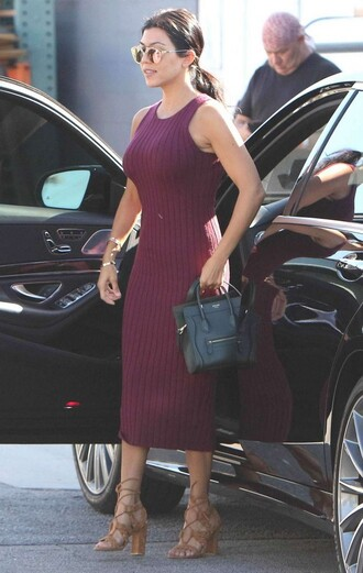 dress burgundy dress burgundy midi dress bodycon dress kourtney kardashian sandals knitted dress midi summer knit dress