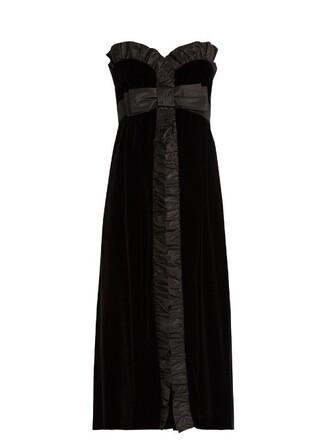 dress velvet dress bow strapless silk velvet black