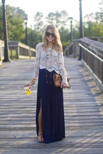 blouse shirt skirt top clothes bohemeian maxi skirt blue maxi skirt navy blue skirt blue white crop tops jewelry boho jewelry boho boho chic long sleeve crop top white lace top sweater crochet top white lace top