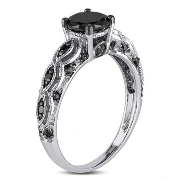 black and silver engagement rings - Sterling Silver Diamond Wedding Rings