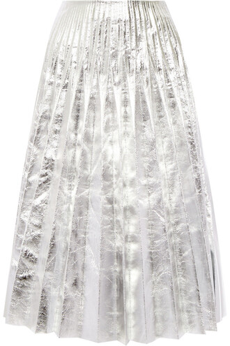 skirt midi skirt pleated metallic midi leather silver