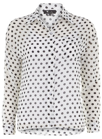 White polka dot shirt - View All Sale  - Sale & Offers  - Dorothy Perkins