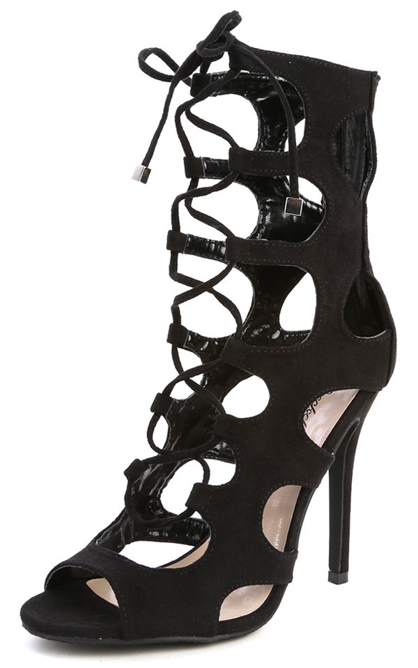 Roma-21 Black Lace Up Cut Out Gladiator Heels and Shop Shoes at ...