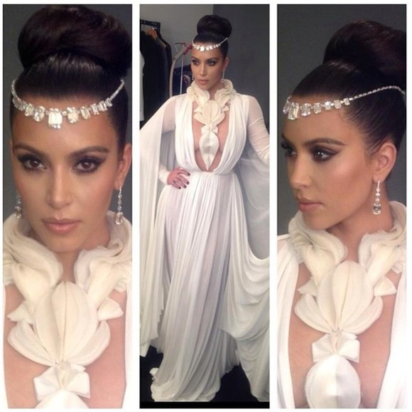 dress gown kim kardashian white dress maxi dress headpiece jewels hat