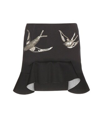 miniskirt embellished neoprene black skirt