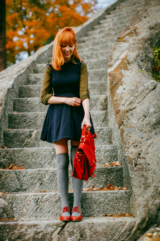 the clothes blogger blouse socks fall outfits knee high socks red bag